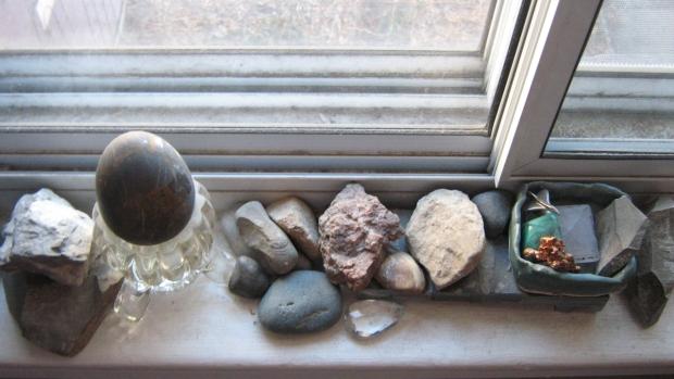 windowsill rock collection