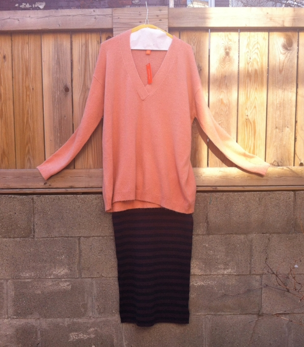 Joe fresh peach sweater striped pencil skirt