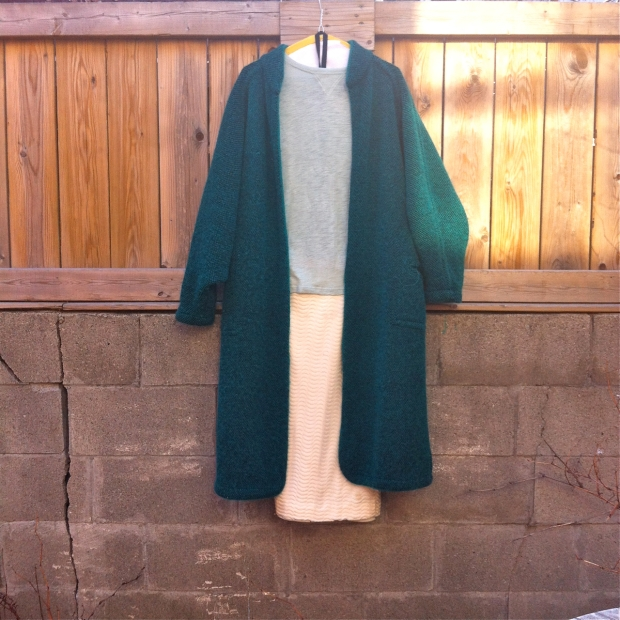 vintage knit emerald coat mint tshirt givenchy skirt