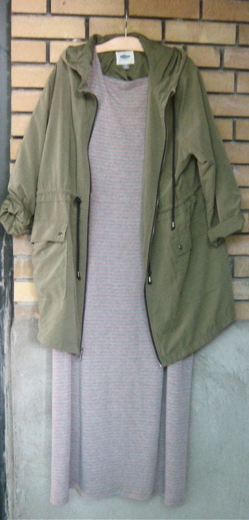 old navy parka and maxi dress