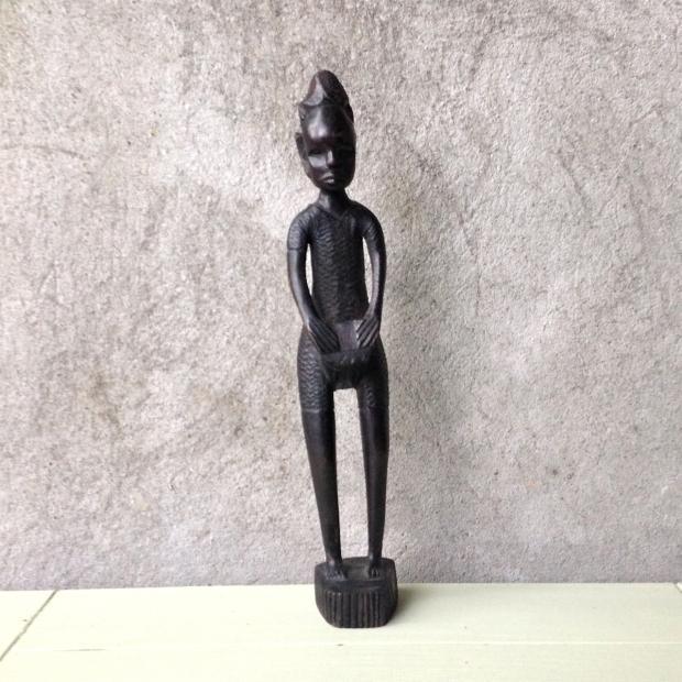 African Mahogany Drummer Sculpture