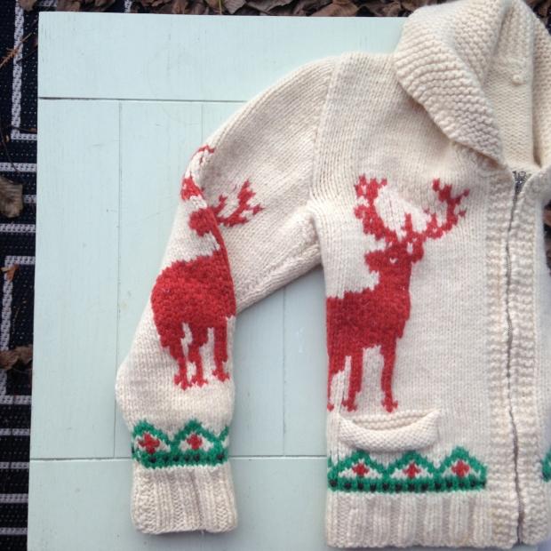 handknit moose sweater