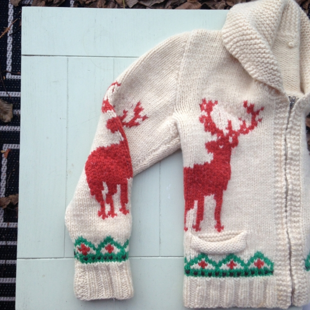 handknit moose sweater