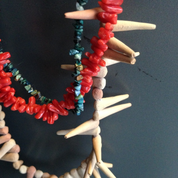 Turquoise, coral and clay necklaces