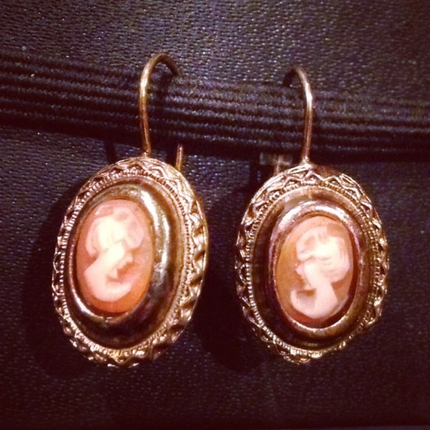 Sterling shell cameo earrings