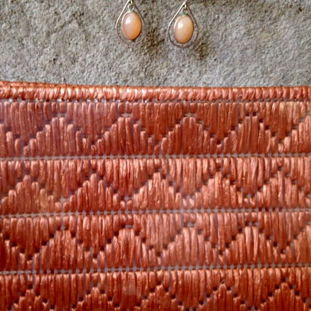 raffia bag shell earrings