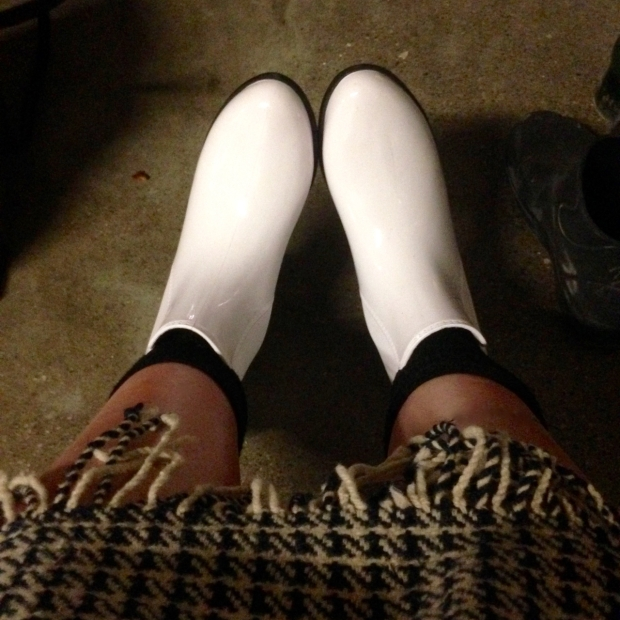 white rubber boots